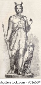 Antique illustration of a decorative Statue - by Fulconis - in Louvre Museum, portraying Actaeon. From drawing of Marc, published on L'Illustration, Journal Universel, Paris, 1860
