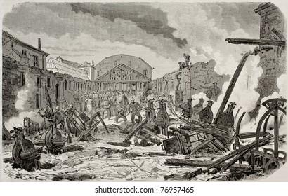 Antique illustration of destruction by fire of printing establishment of Jacques Paul Migne in Montrouge, Paris. Created by Cosson-Smeeton, published on L'Illustration, Journal Universel, Paris, 1868