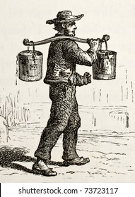 Antique illustration of French water bearer. Original, created by Hildibrand, was published on L'Eau, by G. Tissandier, Hachette, Paris, 1873