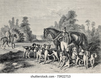 Antique illustration of hunting dog pack .From drawing of Duvaux, engraved by Cosson.Smeeton, published on L'Illustration, Journal Universel, Paris, 1868