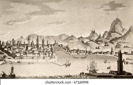 """Antique illustration of Palermo city. The original design was created by Francesco Gandini and was published in 1830 on the book """"Viaggi in Italia"""":   Cremona, Italy, ca. 1832, ed. Luigi De Micheli"""