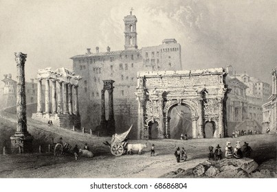 Antique illustration of Roman Forum, Italy. Original, created by W. H. Bartlett and A. Willmore, was published in Florence, Italy, 1842, Luigi Bardi ed.
