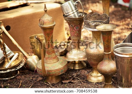 Antique Indian Handicraft Etched Vases Surahi Stock Photo Edit Now