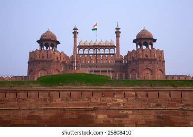 Antique indian red fort in Delhi with flag