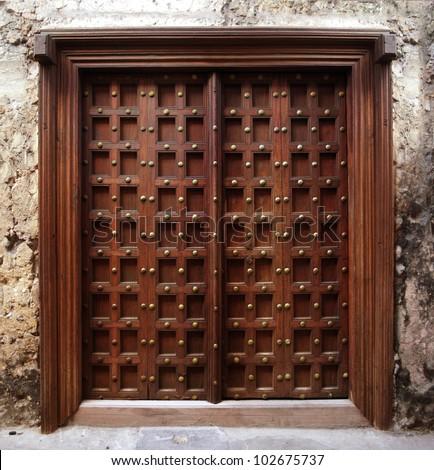 Antique Indian style Wooden Door - Antique Indian Style Wooden Door Stock Photo (Edit Now) 102675737