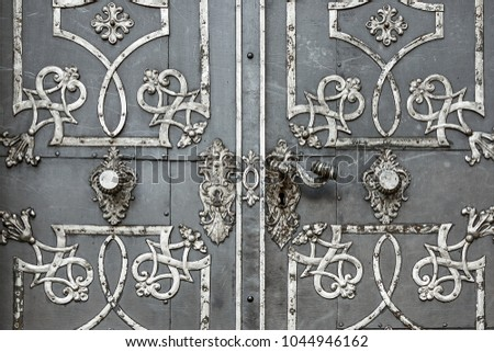 Antique iron doors with ornaments. - Antique Iron Doors Ornaments Stock Photo (Edit Now) 1044946162