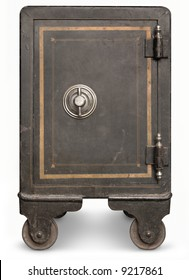 Antique iron safe isolated on white background with clipping path