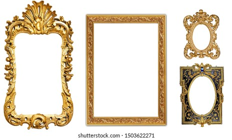 antique isolated golden frame pictures