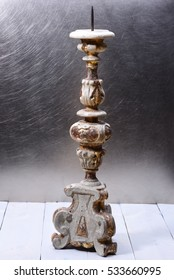 Antique Italian Baroque Wooden Candlestick