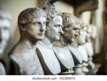 Antique Italian busts in the Vatican Museum