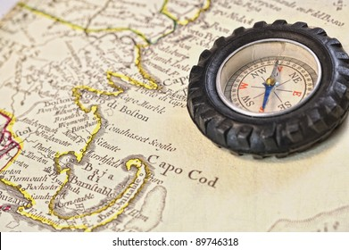Antique Italian Map circa 1779 by Preffo Antonio Zatta showing Cape Cod, MA as Textured Abstract Background with a Vintage Retro Compass for Scrapbook page, computer wallpaper, invitation, background