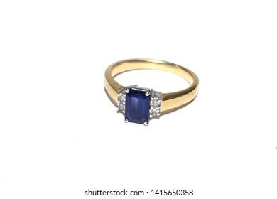 Antique Jeweled Diamond Wedding Engagement Ring on White Background