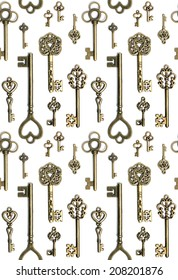 Antique keys flat lay pattern isolated on white background
