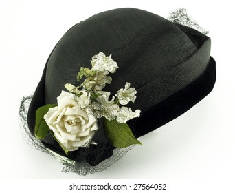 Antique Ladies Hat with Flowers on White Background