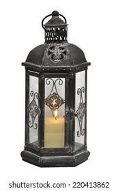 Antique lantern isolated on white background.