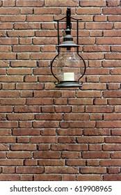 Antique Lantern on a Brick Wall