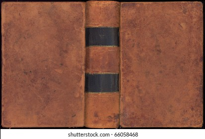 Antique leather book cover with spine over two hundred  years old