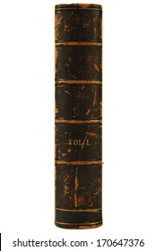 Antique leather book with spine facing out.