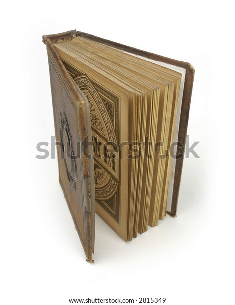 Antique Leatherbound Book Style Photo Album Stock Photo