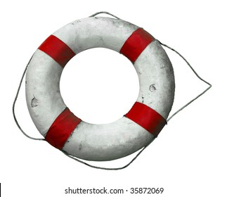 Antique Life Buoy isolated with clipping path