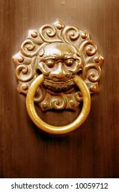 Antique lion head door knob, Taoist temple, China