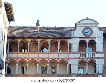 Antique loggia on Piazza della Vittoria in Pavia, Italy, Europe