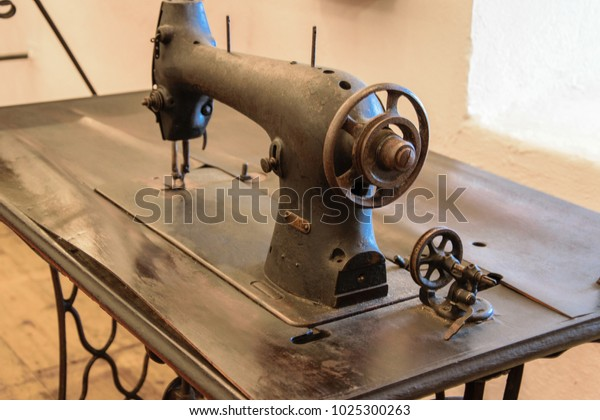 Antique Manual Singer Treadle Sewing Machine Stock Photo