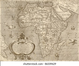 Antique map of Africa.From Atlas by Arnoldo di Arnoldi of Italy, circa 1600.