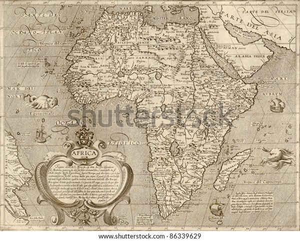 Antique Map Africafrom Atlas By Arnoldo Stock Photo (Edit ...