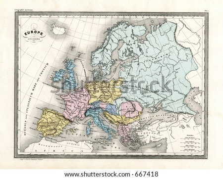Antique Map Ancient Europe 1860 Stock Photo Edit Now 667418