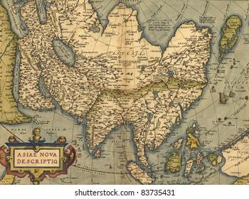 Antique Map of Asia,  Antique map by Ortelius, circa 1570