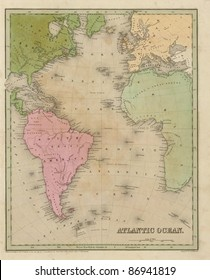 Antique map of the Atlantic Ocean  from the out of print 1841 Goodrich atlas