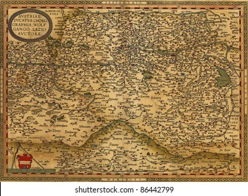 Antique Map of Austria,  by Abraham Ortelius, circa 1570