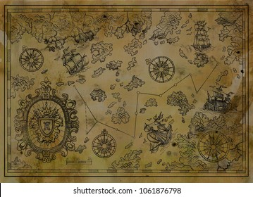 Antique map with baroque banner, compasses, old pirate ships on paper texture. Decorative antique nautical chart, collage with hand drawn illustration