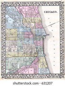 Antique Map of Chicago in 1870