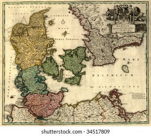 Antique map of Denmark (18 centuries, Latin language).