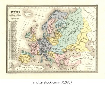 Antique Map of Europe in 1100 AD