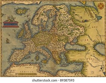 Antique Map of Europe,  by Abraham Ortelius, circa 1570