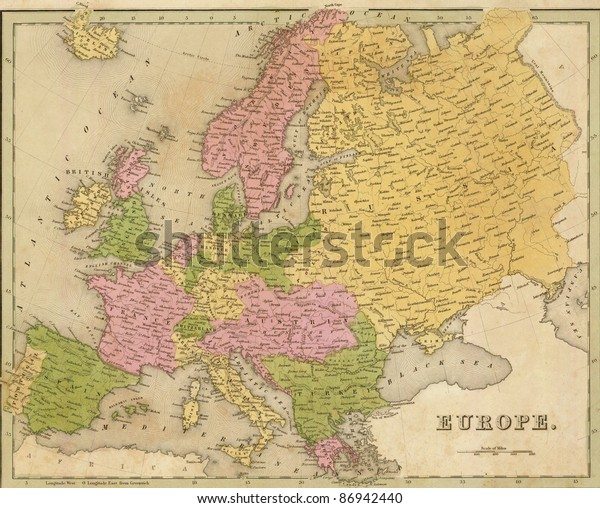 Antique Map Europe Out Print 1841 Stock Photo (Edit Now ...