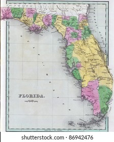Antique map of Florida  from the out of print 1841 Goodrich atlas