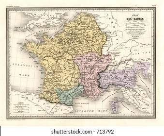 Antique Map of France 1870
