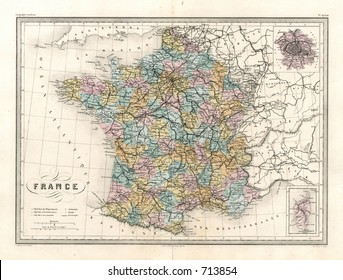 Antique Map of France and Paris