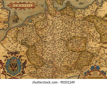 Antique Map of Germany by Abraham Ortelius, circa 1570