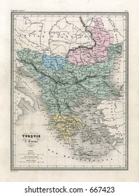 Antique Map of Greece and the Balkans 1860