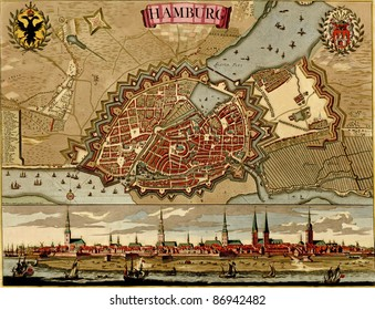 Antique map of Hamburg. Atlas of fortifications and battles, by Anna Beek and Gaspar Baillieu  Originally published in 17th century.