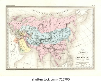 Antique Map of Mongolian Empire Asia