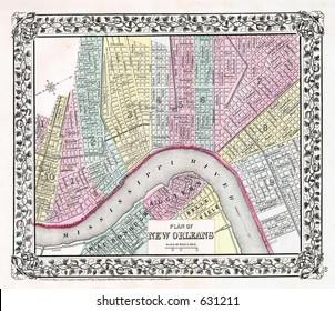 Antique Map of New Orleans in 1870