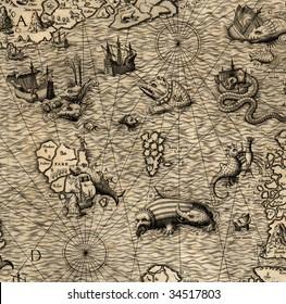 Antique map of Northen Sea (1572, fragment)