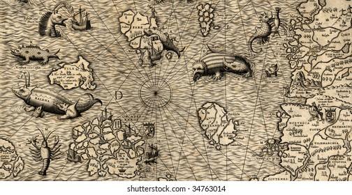 Antique map of Northen Sea (1572, fragment_3)