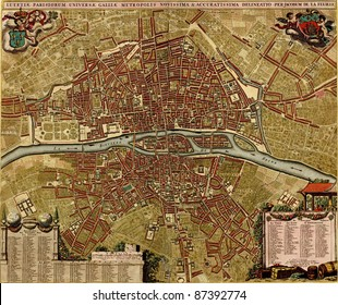 Antique map of Paris.  Atlas of fortifications and battles, by Anna Beek and Gaspar Baillieu  Originally published in 17th century.